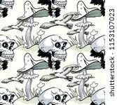 magic mushroom  skull and... | Shutterstock .eps vector #1153107023
