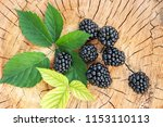 ripe blackberries on a wooden... | Shutterstock . vector #1153110113