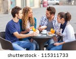 group of friends having a... | Shutterstock . vector #115311733