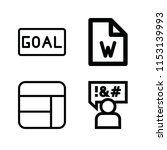 outline set of 4 word icons... | Shutterstock .eps vector #1153139993