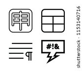outline set of 4 word icons... | Shutterstock .eps vector #1153140716
