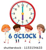 children and time 6 o'clock... | Shutterstock .eps vector #1153154633