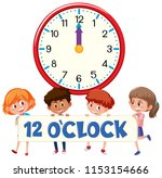 children and time 12 o'clock... | Shutterstock .eps vector #1153154666