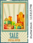 illustration of colorful gift box in Sale background - stock vector