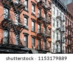 block of historic buildings on... | Shutterstock . vector #1153179889
