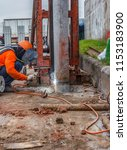 pile connection  safety at work ... | Shutterstock . vector #1153183900