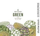 artichoke organic market design ...   Shutterstock .eps vector #1153192903