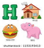 illustration of h alphabet   Shutterstock .eps vector #1153193413
