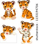 cartoon baby tigers collection... | Shutterstock .eps vector #1153194706
