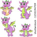 cartoon dragons collection set | Shutterstock .eps vector #1153194709