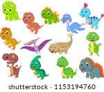 cute baby dinosaurs collection | Shutterstock .eps vector #1153194760