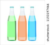 three vector bottles. green ... | Shutterstock .eps vector #1153197466