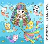 mermaid cute with friends | Shutterstock .eps vector #1153201903
