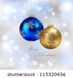 Christmas realistic baubles on shiny background-vector