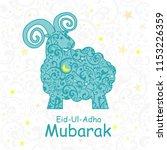 eid al adha mubarak. greeting... | Shutterstock .eps vector #1153226359