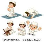 a set of muslim boy... | Shutterstock .eps vector #1153235620