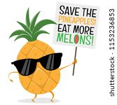 funny pineapple demonstrator... | Shutterstock .eps vector #1153236853