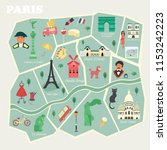 map of paris with streets and... | Shutterstock .eps vector #1153242223