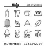 baby icons. set of 12 outline... | Shutterstock . vector #1153242799