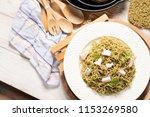 moroheiya vegetable noodle ... | Shutterstock . vector #1153269580
