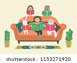 girl reading book with fantasy... | Shutterstock .eps vector #1153271920