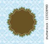 dark brown round label on blue... | Shutterstock .eps vector #115328980