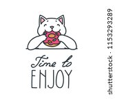 time to enjoy. happy white cat... | Shutterstock .eps vector #1153293289