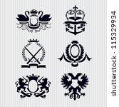 vector heraldic royal crests... | Shutterstock .eps vector #115329934
