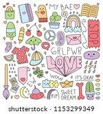 various cute things in doodle... | Shutterstock .eps vector #1153299349