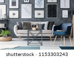 blue armchair next to sofa and... | Shutterstock . vector #1153303243