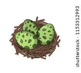 dinosaurs nest with eggs in... | Shutterstock .eps vector #1153312993