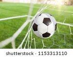 soccer ball in goal  sport...   Shutterstock . vector #1153313110