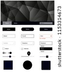 dark gray vector ui ux kit in...