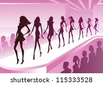 fashion models show new clothes ... | Shutterstock .eps vector #115333528