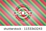 sos christmas badge background. | Shutterstock .eps vector #1153363243