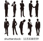business man woman silhouettes... | Shutterstock .eps vector #115338559
