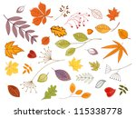 Autumnal leaves and plants set for seasonal design, such a template. Jpeg version also available in gallery - stock vector