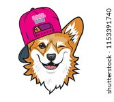 cool dog welsh corgi face with... | Shutterstock .eps vector #1153391740