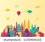 travel and tourism background.... | Shutterstock .eps vector #1153404103
