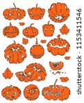 set of halloween pumpkins ... | Shutterstock .eps vector #1153411546