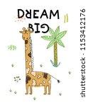 cartoon safari poster. hand... | Shutterstock .eps vector #1153412176