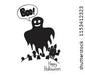 halloween ghost with boo text ...   Shutterstock .eps vector #1153412323