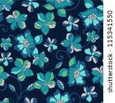 romantic floral seamless... | Shutterstock .eps vector #115341550