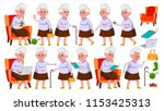 old woman poses set vector.... | Shutterstock .eps vector #1153425313