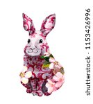 moon rabbit with flowers and... | Shutterstock . vector #1153426996