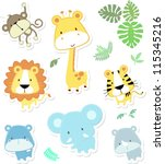 Stock vector vector cartoon illustration of seven baby animals and jungle leaves individual objects very easy 115345216