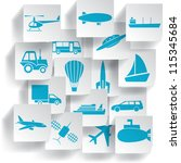 transportation and travel icons ... | Shutterstock .eps vector #115345684