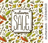 autumn sale lettering with... | Shutterstock .eps vector #1153464010