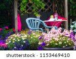 beautiful  summer garden with... | Shutterstock . vector #1153469410