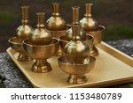 group of old vintage brass... | Shutterstock . vector #1153480789